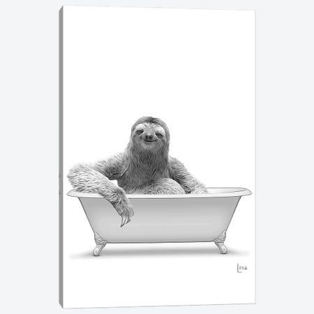 Sloth In Bathtub Black And White Canvas Print #LIP145} by Printable Lisa's Pets Canvas Artwork