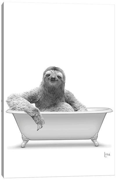 Sloth In Bathtub Black And White Canvas Art Print
