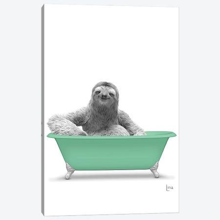 Sloth In Green Bathtub Canvas Print #LIP146} by Printable Lisa's Pets Canvas Art