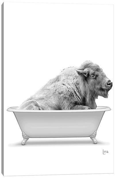 Bison In Bathtub Black And White Canvas Art Print