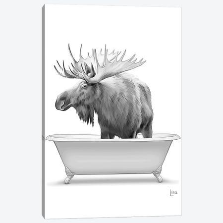 Moose In Bathtub Black And White Canvas Print #LIP148} by Printable Lisa's Pets Art Print