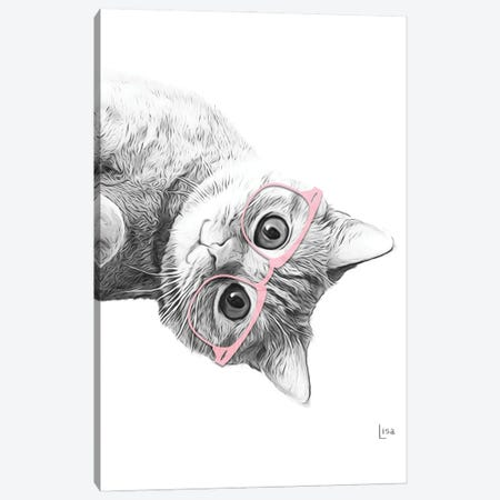 Cat With Pink Glasses Canvas Print #LIP150} by Printable Lisa's Pets Canvas Wall Art