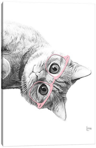 Cat With Pink Glasses Canvas Art Print