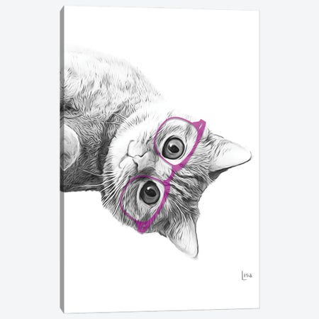 Cat With Purple Glasses Canvas Print #LIP151} by Printable Lisa's Pets Canvas Wall Art