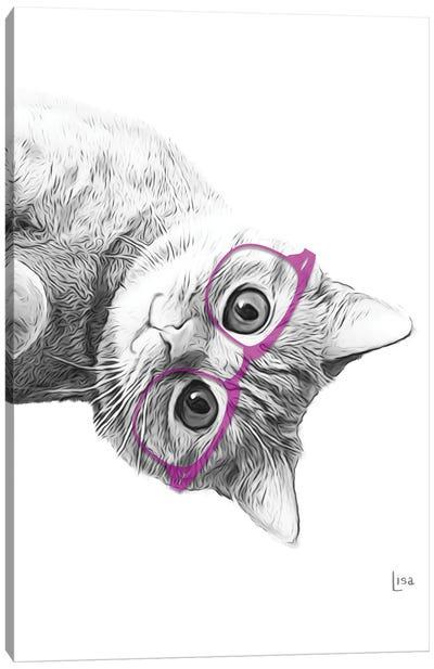 Cat With Purple Glasses Canvas Art Print