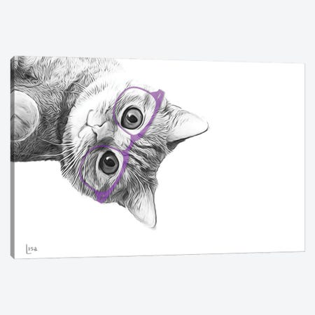 Cat With Violet Glasses Canvas Print #LIP152} by Printable Lisa's Pets Canvas Art