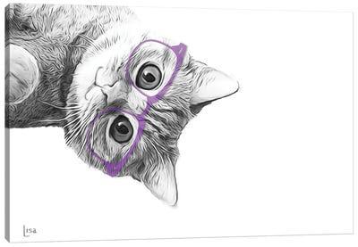 Cat With Violet Glasses Canvas Art Print
