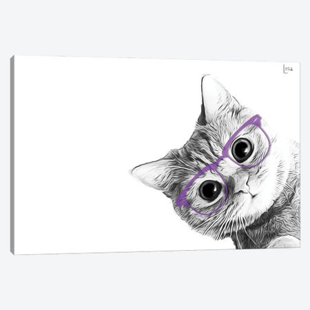Small Cat With Violet Glasses Canvas Print #LIP153} by Printable Lisa's Pets Canvas Artwork