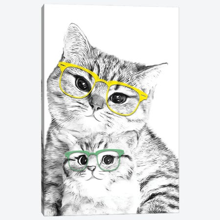Two Cats With Colored Glasses Canvas Print #LIP154} by Printable Lisa's Pets Canvas Art Print
