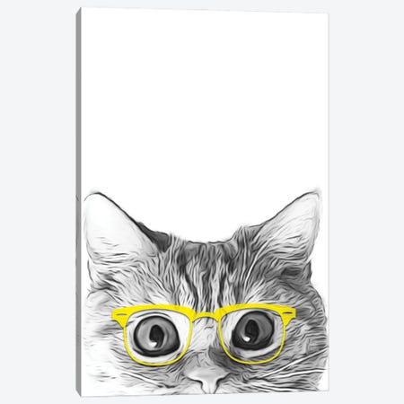 Cat With Yellow Glasses Canvas Print #LIP155} by Printable Lisa's Pets Canvas Print