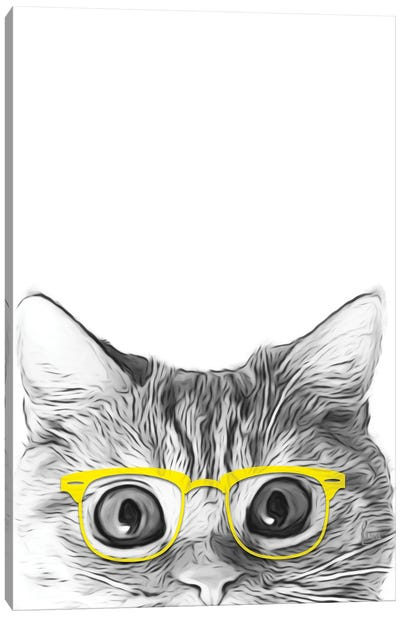 Cat With Yellow Glasses Canvas Art Print