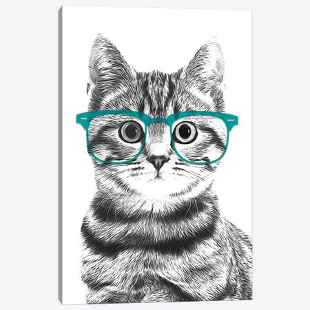 Cat With Teal Glasses Canvas Print #LIP156} by Printable Lisa's Pets Canvas Art Print