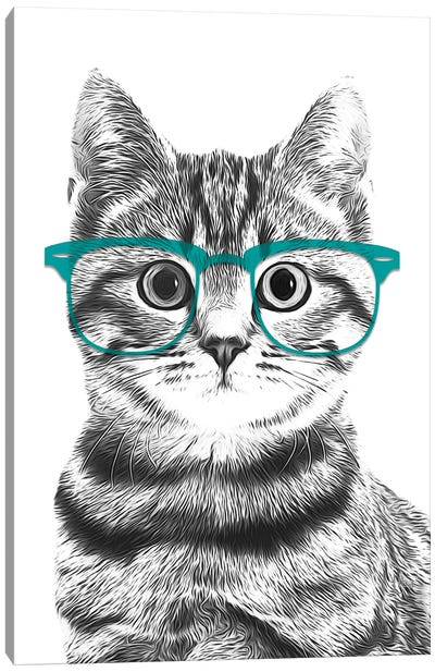Cat With Teal Glasses Canvas Art Print