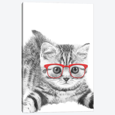 Cat With Red Glasses Canvas Print #LIP157} by Printable Lisa's Pets Art Print