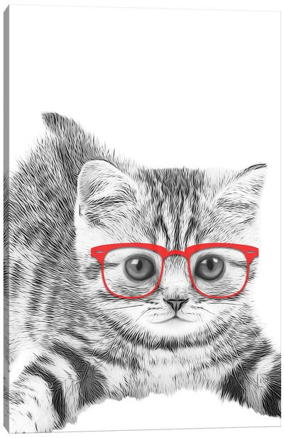 Cat With Red Glasses Canvas Art Print
