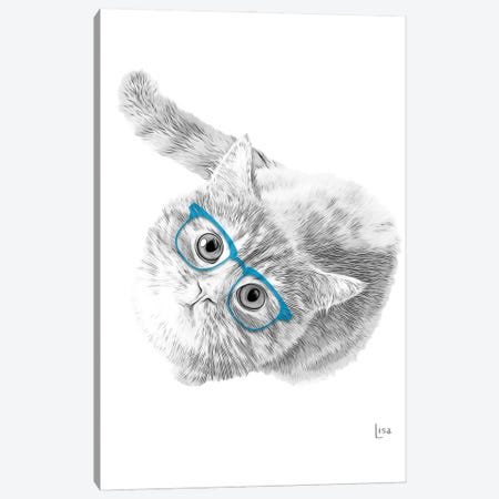 Cat With Blue Glasses Canvas Print #LIP158} by Printable Lisa's Pets Canvas Wall Art