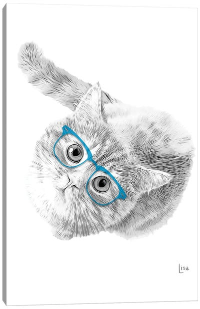 Cat With Blue Glasses Canvas Art Print