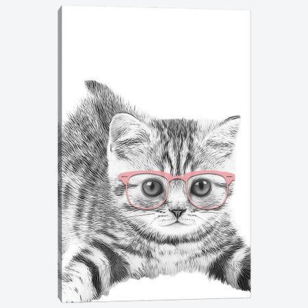 Little Cat With Pink Glasses Canvas Print #LIP159} by Printable Lisa's Pets Canvas Wall Art