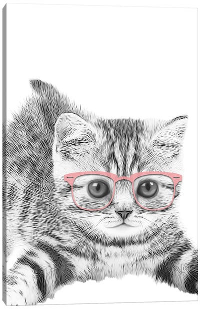 Little Cat With Pink Glasses Canvas Art Print
