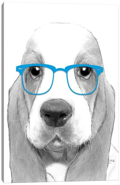 Bassethound With Blue Glasses Canvas Art Print