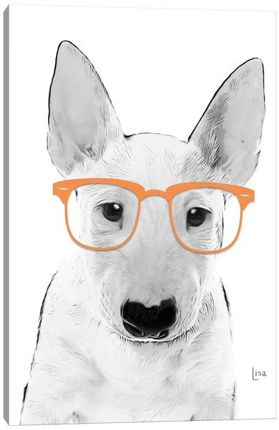 Bullterrier With Orange Glasses Canvas Art Print