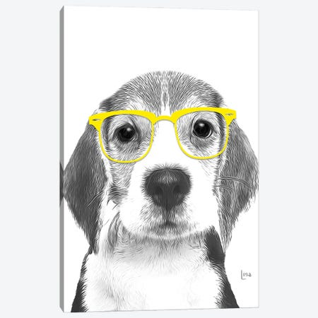 Beagle With Yellow Glasses Canvas Print #LIP162} by Printable Lisa's Pets Canvas Art Print