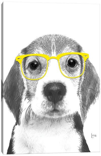 Beagle With Yellow Glasses Canvas Art Print
