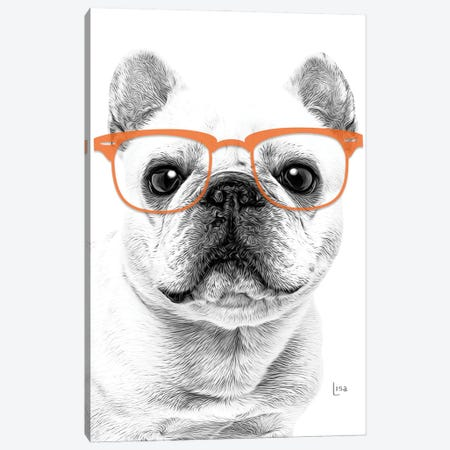 French Bulldog With Orange Glasses Canvas Print #LIP163} by Printable Lisa's Pets Canvas Print