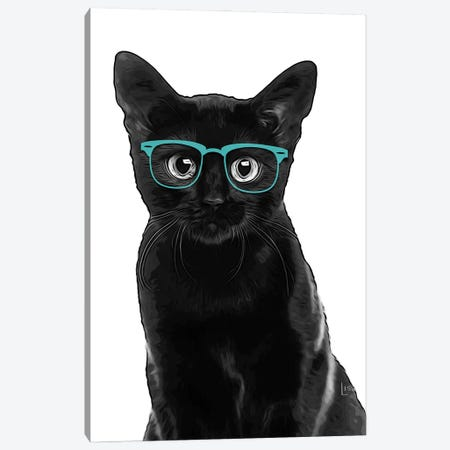 Black Cat With Teal Glasses Canvas Print #LIP164} by Printable Lisa's Pets Canvas Wall Art