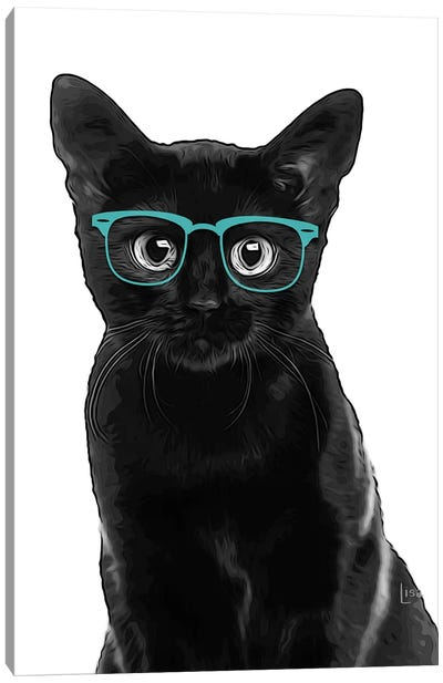 Black Cat With Teal Glasses Canvas Art Print