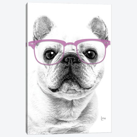 French Bulldog With Violet Glasses Canvas Print #LIP165} by Printable Lisa's Pets Canvas Art