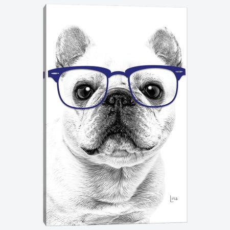 French Bulldog With Blue Glasses Canvas Print #LIP166} by Printable Lisa's Pets Canvas Art
