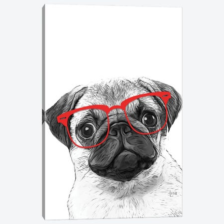 Pug With Red Glasses Canvas Print #LIP167} by Printable Lisa's Pets Canvas Wall Art