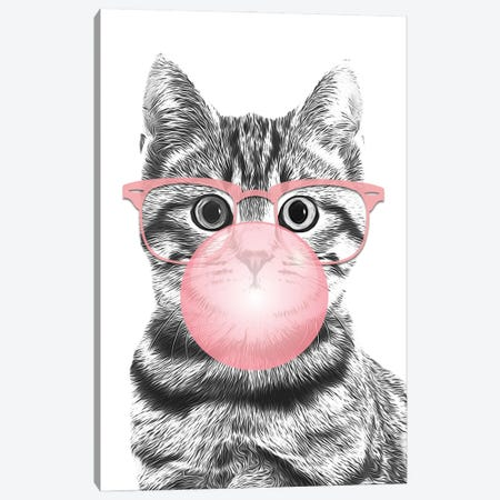Cat With Pink Glasses And Bubble Canvas Print #LIP168} by Printable Lisa's Pets Canvas Print