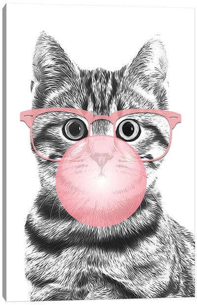 Cat With Pink Glasses And Bubble Canvas Art Print