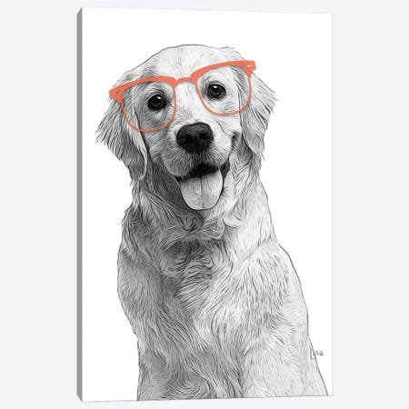 Golden Retriever With Orange Glasses Canvas Print #LIP170} by Printable Lisa's Pets Canvas Wall Art