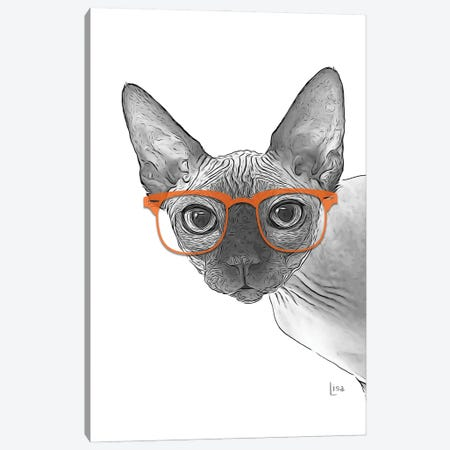 Sphynxcat With Orange Glasses Canvas Print #LIP172} by Printable Lisa's Pets Canvas Wall Art