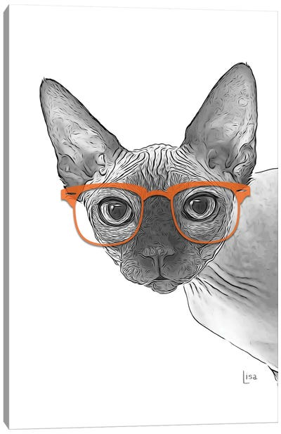 Sphynxcat With Orange Glasses Canvas Art Print