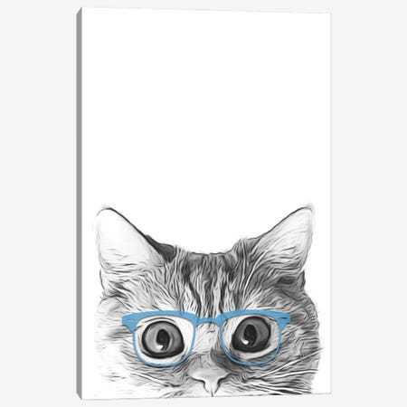 Cat Face With Blue Glasses Canvas Print #LIP173} by Printable Lisa's Pets Canvas Wall Art
