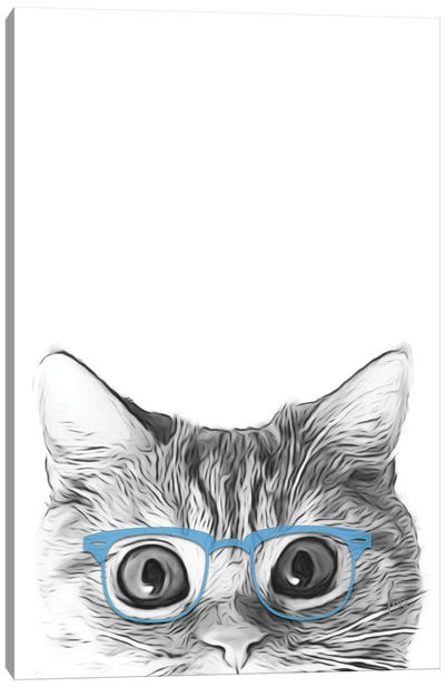 Cat Face With Blue Glasses Canvas Art Print