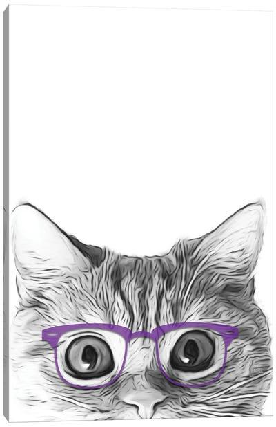 Cat Face With Violet Glasses Canvas Art Print