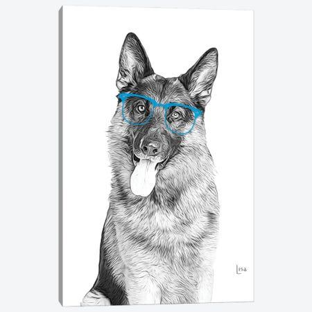 German Shepherd With Blue Glasses Canvas Print #LIP175} by Printable Lisa's Pets Canvas Print