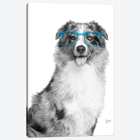 Australian Shepherd With Blue Glasses Canvas Print #LIP176} by Printable Lisa's Pets Canvas Print