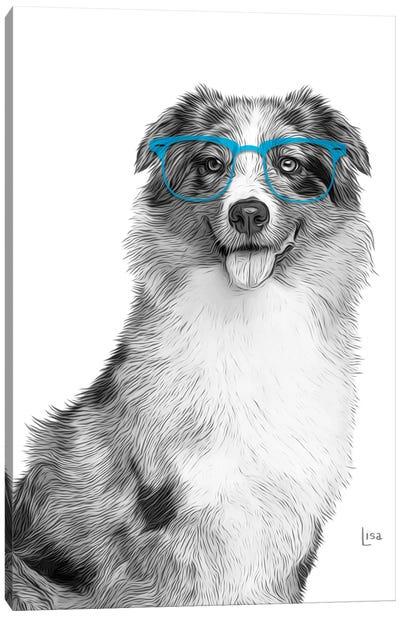 Australian Shepherd With Blue Glasses Canvas Art Print