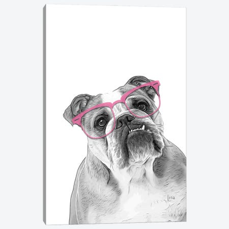 English Bulldog With Pink Glasses Canvas Print #LIP177} by Printable Lisa's Pets Canvas Print