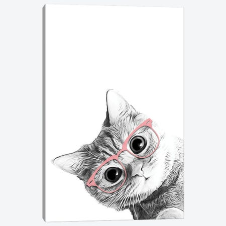 Baby Cat With Pink Glasses Canvas Print #LIP178} by Printable Lisa's Pets Canvas Art
