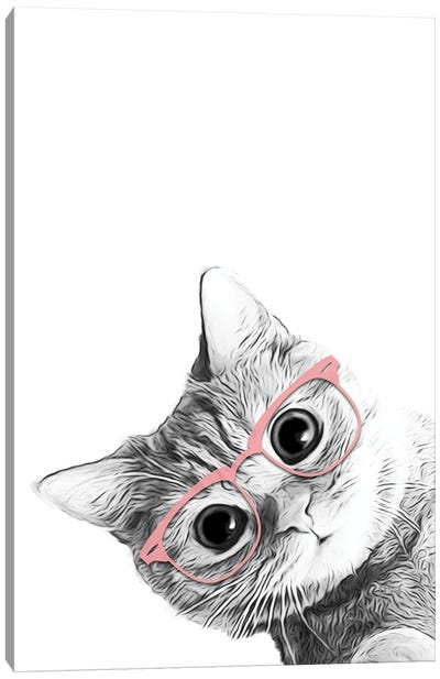 Baby Cat With Pink Glasses Canvas Art Print