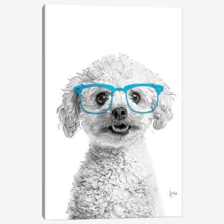 Poodle With Blue Glasses Canvas Print #LIP179} by Printable Lisa's Pets Canvas Wall Art