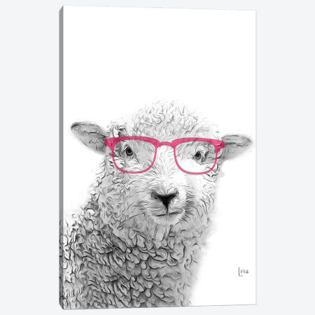 Sheep With Glasses Canvas Print #LIP17} by Printable Lisa's Pets Canvas Art