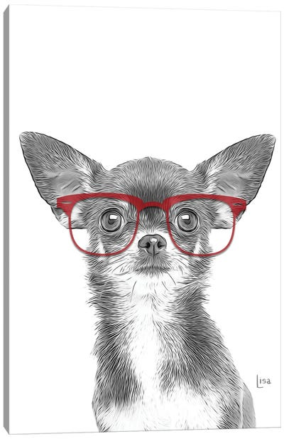 Chihuahua With Red Glasses Canvas Art Print